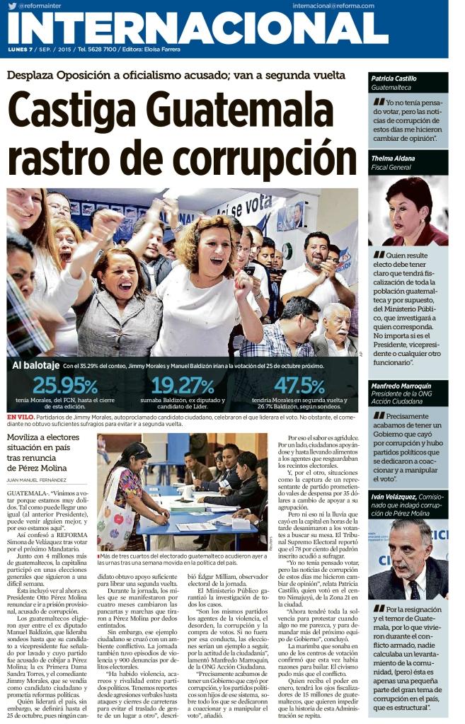 Castiga Guatemala rastro de corrupción